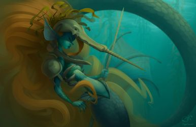 Mermaid Narwhal by Curly-Artist