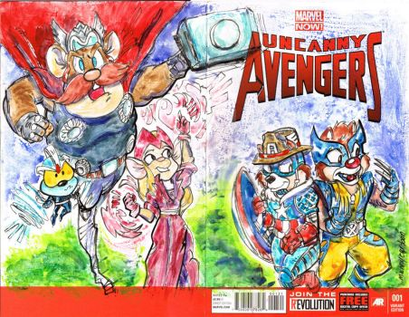 Sketch Covers Uncanny Avengers Rescue Rangers by mannycartoon