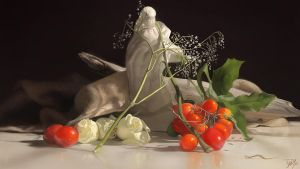 Still Life Painting - Torso and Flowers by damie-m