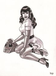 Bettie Page with Rocketeer Helment by EricaHesse