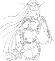 Wow Night Elf Line Art by discipleneil777