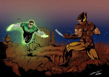 Wolverine vs Green Lantern by LTartist