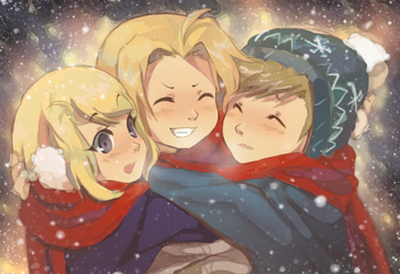 Hug in the Snow by Day-Dream-Fever