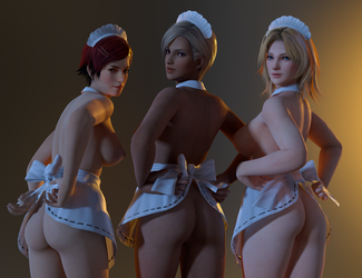 Dead or Alive DOA Three Maids by RadiantEld