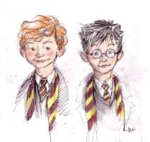 Ronald Weasley and Harry Potter by B-a-h-a-a