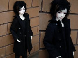 Black Wool Coat by kawaiimon