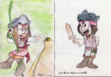 Jack Sparrow doodles by Blue-Aqua-san95