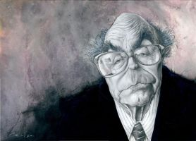 Jose Saramago by carloscartoons