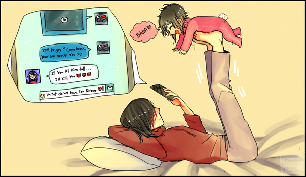 If the dad takes care of his son alone? by Koumi-senpai