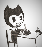 BATIM: Bendy is eating spaghetti and meatballs by nightblue1991