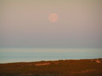 Moon over Arctic Sea by OsaWahn