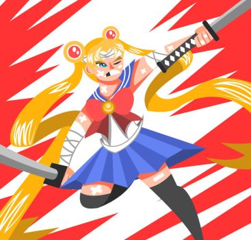 Samurai Sailor Moon by holadarius