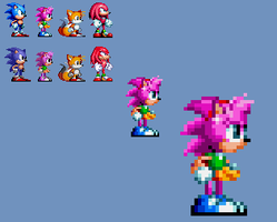 Amy sonic mania sprite preview by Aquamimi123
