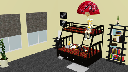 [MMD] Simple Bedroom Stage with Bunk Bed DL by OniMau619