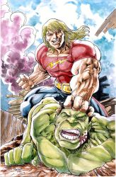 Doc Samson vs Hulk auction piece for Peter David by gammaknight