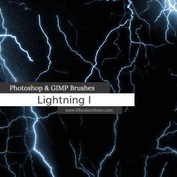 Lightning Photoshop and GIMP Brushes by redheadstock