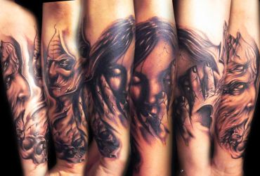 freehand evil half sleeve by hatefulss