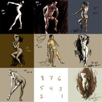 Sketches from nude photos by melukilan