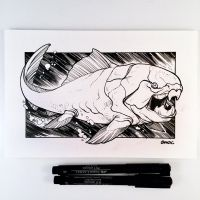 Inktober Day 20 - Dunkleosteus by D-MAC