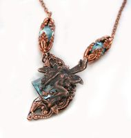 Fantasy Fairy Necklace Aqua with Rose Ox by byrdldy
