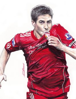 Steven Gerrard Ballpoint Pen Drawing by demoose21