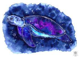 Galaxy turtle by Idunaya