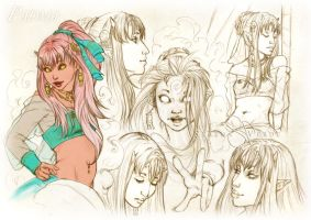 Commission: Padma sketchpage by SerenaVerdeArt