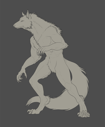 Commission #50 - HarukitheWolf -lineart- by DelusionalPuffball