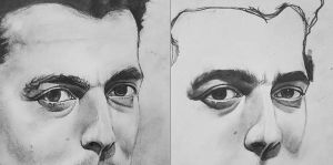 Portrait drawing before and after by ProfessorPicasso