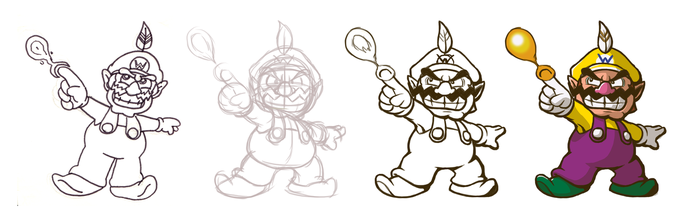 Re-Drawing Fire Wario by fryguy64