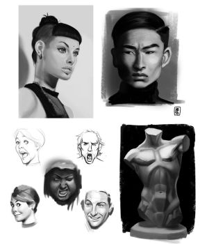 Black and white Studies by SuperKaninja
