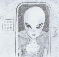 Grey alien girl by freeza-frost