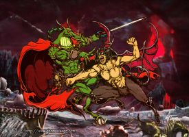 Devilman vs Nemesis the Warlock by MrTuke