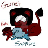 Garnet Ruby and Sapphire Lions by Razzle-The-Dazzle