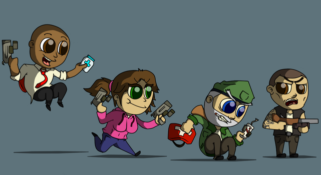 Left 4 dead lil characters by Luifui