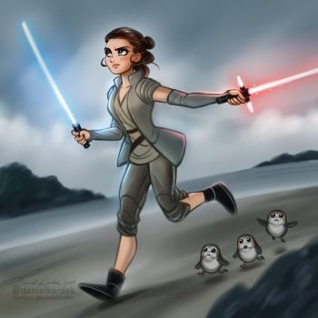 Star Wars the Last Jedi: Rey and Porgs by daekazu
