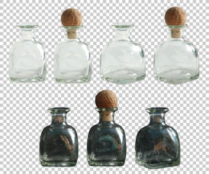 Small glass bottle PNG by raduluchian