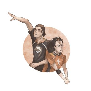karasuno's wing spiker and libero by kkatelyn