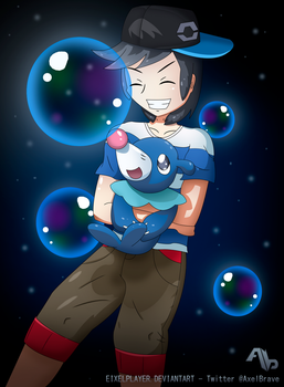 Male Trainer And Popplio ~  Pokemon Sun  And Moon by ax3lbravo