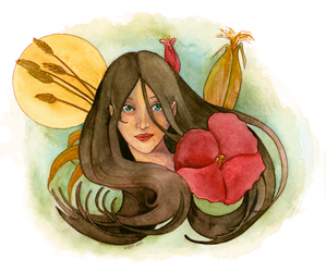 Girl with Hibicus and Harvest by matildarose