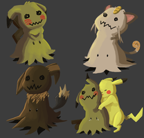 A Collage of Mimikyu Sketches by Alexandritea