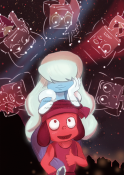 Steven Universe Rubies and Sapphire by wannabeMarysue