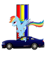 Shirt design- Mustang Rainbow Dash by GoneIn10Seconds