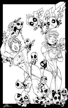 Domino and Rogue with chibi Deadpools by demonplague