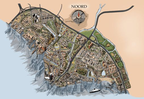 Illustrated map of Amsterdam Noord by Slapshoft