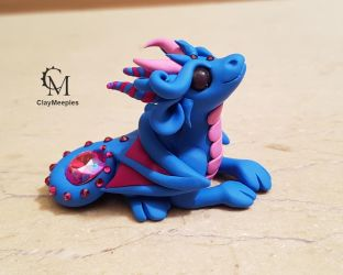 blue dragon with a gemstone by claymeeples