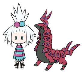 Chibi Roxie and Scolipede -colored- by LordoftheFuzzys