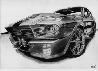 Shelby GT500 Eleanor drawing by alainmi