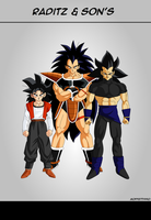 Raditz and sons colored by Moffett1990