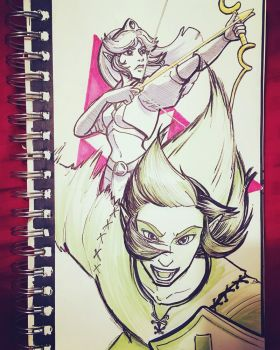Inktober  #Day 28: Dual Force by hollarity
